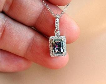 Sterling Silver Mystic Topaz Pendant Necklace, CZ and Mystic Topaz Necklace, Octagon Pendant, Topaz Jewelry, Rainbow Topaz Gemstone Jewelry