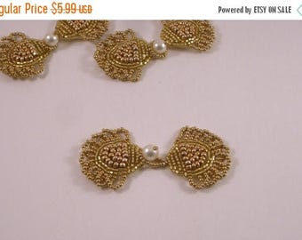 ON SALE Delicate Gold and Pearl Beaded Frog Closure--One Piece