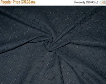 ON SALE Midnight Navy Blue Allover Geometric Design Embroidered Eyelet Fabric--One Yard