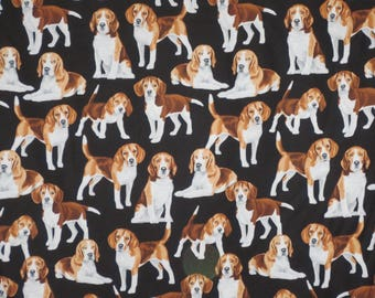 Cute Brown and White Beagles Print on Black Pure Cotton Fabric --By the Yard