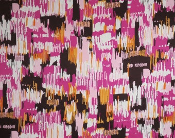 Pink with Chocolate Brown and Orange Abstract Paintbrush Print Stretch Cotton Sateen Fabric--By the Yard