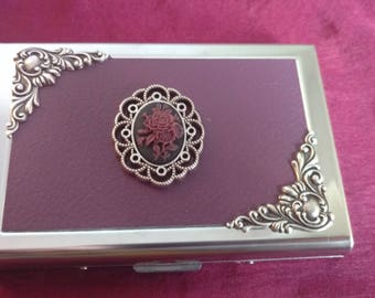 Purple Rose Faux Leather Business Card Case / Credit Card case / wallet / card holder with silver edging