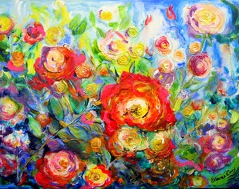 A Rose Garden Original Painting Canvas art 18 x 24 Art by Elaine Cory