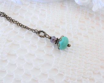 Turquoise Necklace, Petite Pendant Necklace, Crystal Necklace, Vintage Inspired Necklace, Small Pendant Necklace, Blue and Purple Necklace