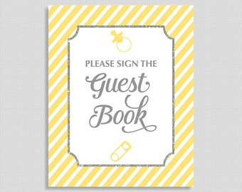 Please Sign The Guest Book Sign, Yellow Stripe Baby Shower Sign,  Gender Neutral, INSTANT PRINTABLE