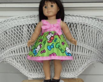 Hello Sundress Kitty Handmade To Fit 18 Inch Dolls Like American Girl