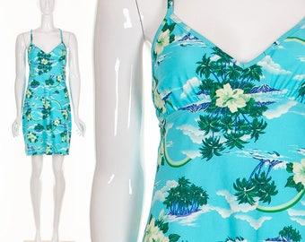 90's HAWAIIAN Mini Dress Seapunk Dress Tropical Novelty Print Short Dress Criss Cross Back Halter Dress Open Back Raver Rave Club Kid S M