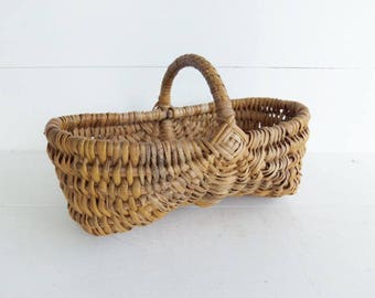 Vintage Buttocks Basket, Wicker Basket, Small Cane Basket