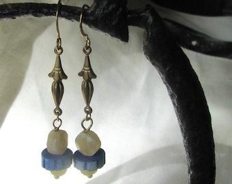 yellow and blue dangle earrings
