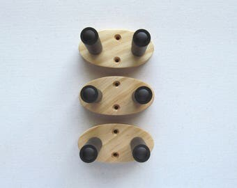 Plain ukulele wall mount hangers, holder, three pack. wood grain will vary