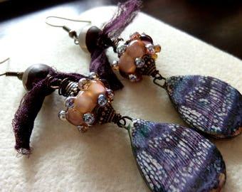 Ceramic Teardrops with Lampwork and Tibetan Agate Deep Plum Sari Silk Earrings