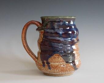 Pottery Mug, 17 oz, handthrown ceramic mug, stoneware pottery mug, unique coffee mug
