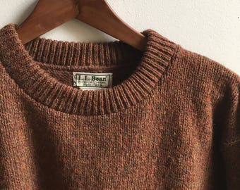 Vintage L.L.Bean Brown/Multi Wool Sweater Mens Large Made in USA