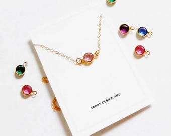 Birthstone Necklace Gold,Silver.Personalized bridesmaid gift,Wedding Minimalist Bridal party childrens necklace Flower Girl Gift