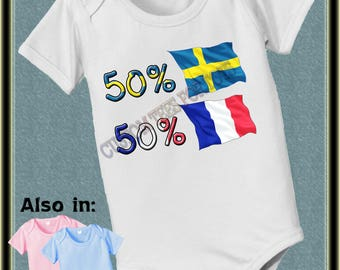 Custom short sleeve and long sleeve 50 French 50 Swedish nationality bodysuit with country flags France Sweden baby infant