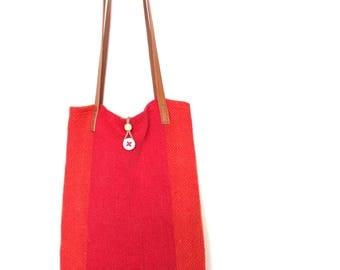 handmade vintage hand woven linen 'rothko' tote bag