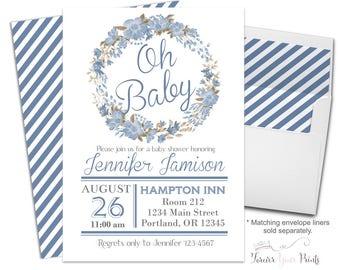 Printable Boys Baby Shower Invites - Boys Baby Shower Invitions - Boys Baby Sprinkle - Baby Boy Invitation - Oh Baby Invitation - Floral