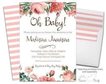 Printable Baby Shower Invitation, Girls Baby Shower Invitation, Oh Baby Shower Invitation, Baby Shower Invites, Printable Invitation, Coral