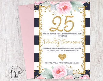 Floral 25th Birthday Invitation - 25th Birthday Party Invitation - 25th Birthday Invite - Milestone Birthday - Surprise Party Invite