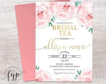 Floral Bridal Tea Invitation - Bridal Tea Invite - Peonies Bridal Shower Invite - Floral Wedding Shower - Bridal Luncheon - Bridal Brunch