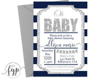 Navy and Silver Baby Shower Invitation - Baby Shower Invitation Boy - Oh Baby Invitation - Oh Baby Invite - Printable Baby Shower Invite