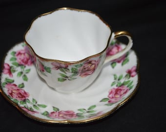 Salisbury Rose Pattern Cup and Saucer-Made in England