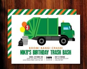 Garbage Truck Birthday invitations, Garbage Trash Bash Birthday Invitation