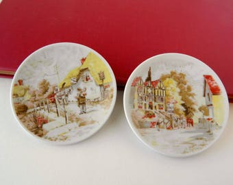 Collectible Japanese Pin Dishes. Small Mini Plates. The King's Tavern. The Smuggler's Inn. Vintage Home Decor. Curio Cabinet Display.