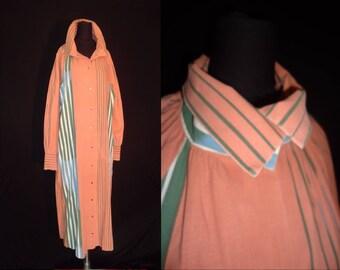 Peach Cotton Geometric Striped Designer Vintage 1960's Women's Tent House Dress L XL