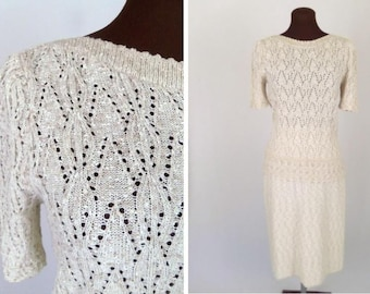 Vintage 70's Sweater Dress 2 Piece Set Knit Beige Tan Leslie Fay Size Small / S