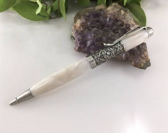 Wedding Guest Book Pen - Filigree White Pearl Writing Pen With 3 Swarovski Crystals   - Free Engraving