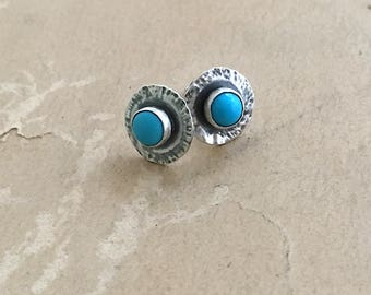 Turquoise Stud Earrings | Silver and Turquoise | Tiny Stud Earrings
