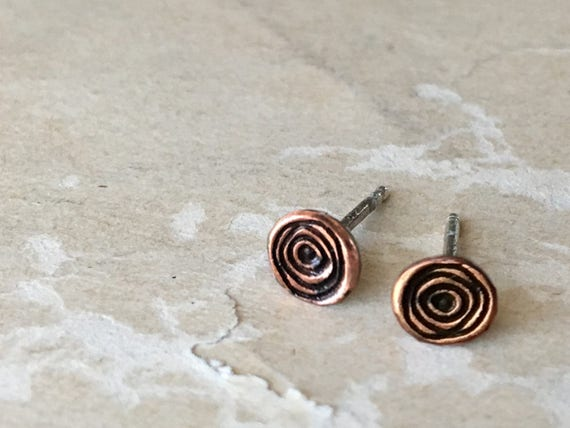 Tiny Stud Earrings | Copper Jewelry | Spiral Earrings