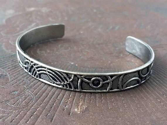 White Bronze Cuff, Art Deco Jewelry, Stackable Bracelets