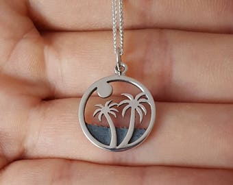 Palm Tree Necklace, Sterling Silver, Tropical Jewelry, Miami Necklace, Mother's Gift, Birthday Gift, Traveler's Gift