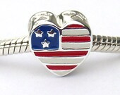 USA Flag Heart Shaped Sterling Silver Large Hole Bead