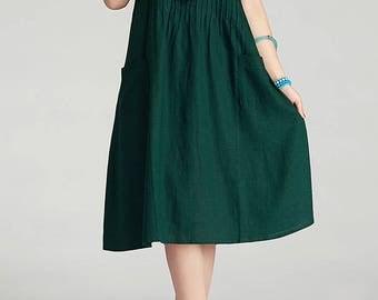 Round Neck Maxi Dress - Summer Dress in Green- Linen Sundress for Women-Short Sleeved