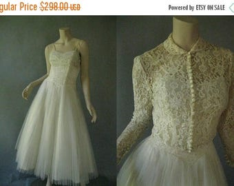 ON SALE 1950s Short Wedding Dress - 50s Lace and Tulle Tea Length Dress -1950s Bolero Jacket -  Long Lace Sleeves -Size Small