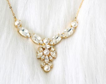 Bridal Necklace, Bridal Pearl Necklace, Bridal Crystal Necklace, Swarovski Crystal Necklace, Bridal Jewelry set, White Crystal Necklace