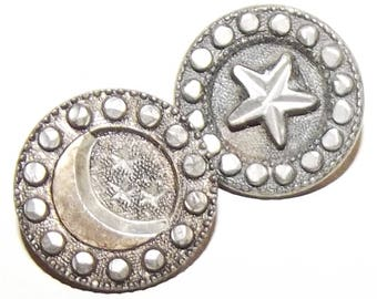 Antique Buttons ~ Tinted Pewter Metal Buttons Moon and Stars