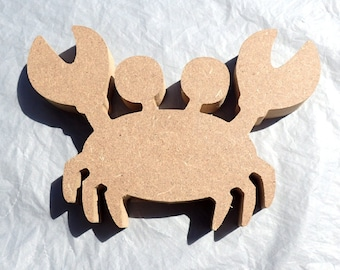 Crab Plaque -  Use as a Base for Mosaics Decoupage or Decorative Painting - Unfinished MDF Small 6 inch Sign Beach Sea Life