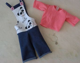 Cute MSD kawaii BJD overall set including the necklace