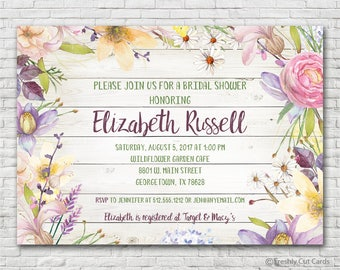 Rustic Flowers Bridal Shower Invitation - Printable or Printed (w/ FREE Envelopes)