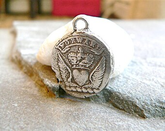 "Wax Seal Jewelry ""FORWARD"" Wax Seal Necklace  -  Keep Calm & Carry On - Mens jewellery  HEART,  WINGS and Crown, Motivational, Inspirational"