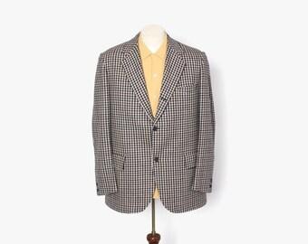 Vintage 60s CASHMERE Blazer / 1960s Men's Houndstooth Suit Jacket M 42