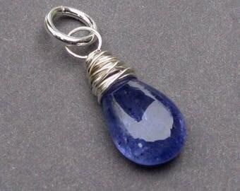 Tanzanite Birthstone Charm, Sterling Silver Wire Wrapped Pendant, Tanzanite Pendant, December Birthstone, Tanzanite  Bracelet Charm,Stone 23