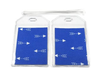 Luggage Tags Set of 2 Arrow Blue