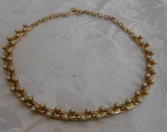 Vintage necklace, seed pearl and gold plate choker necklace, retro 1950s necklace, vintage jewelry