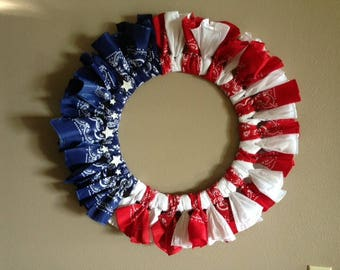 LARGE Fourth of July Patriotic Wreath 4th of July Decor