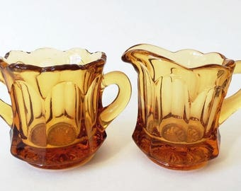 Amber Mini Open Sugar and Creamer, Vintage Imperial Glass Old Williamsburg ON SALE